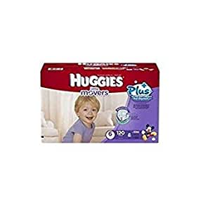 Huggies Little Movers Plus Double Grip Strips Diapers, 35+lbs(16kg), 120 Counts