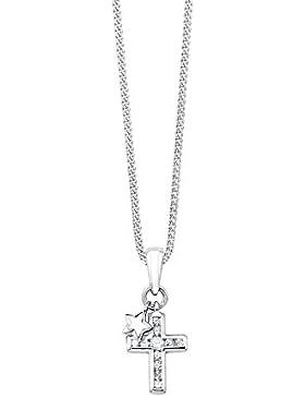 s.Oliver Kinder-Kette mit Anhänger 925 Silber rhodiniert Zirkonia weiß Rundschliff 40 cm - 2019072