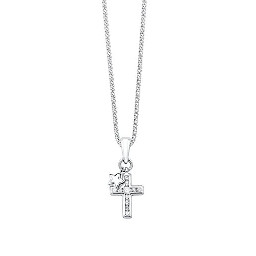 S.Oliver Kinder Kette mit Kreuz und Stern-Anhänger 925 Sterling Silber rhodiniert Zirkonia 37+3 cm weiß