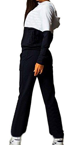 Tuta Donna Ginnastica Sport Felpa E Pantaloni 2 Pezzi Tute Con Cappuccio Manica Lunga Con Tasca Zip Felpe Pantaloni Lungo Moda Vintage Colori Misti Casual Set Nero