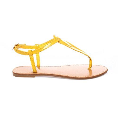 La Modeuse Sandales Vernies Femme Jaune