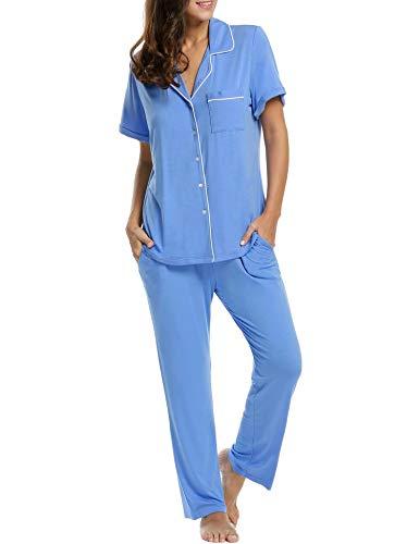 Pyjama Set Damen Schlafanzug Kurzarm Hose und Oberteil kurz Schwangere Nachtwäsche schwarz/grau/blau
