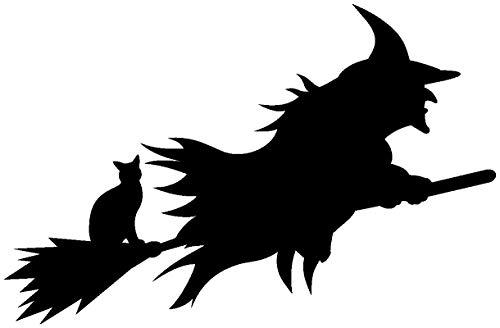 Samunshi® Aufkleber Halloween Hexe Autoaufkleber in 9 Größen und 25 Farben (10x6,5cm schwarz)