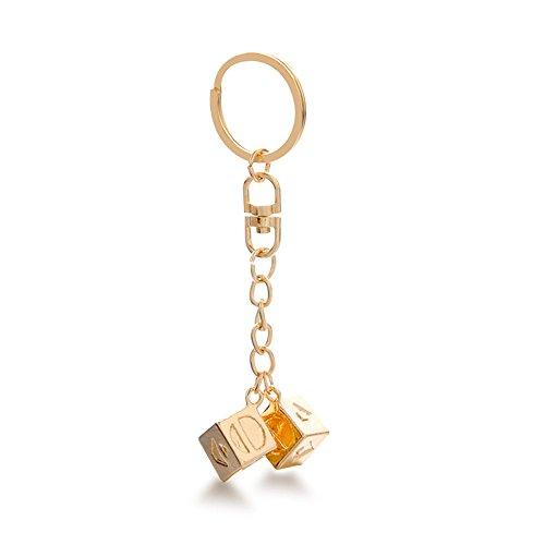 Schlüsselanhänger Personalisiert Design, Geburtstagsgeschenk für Frauen Männer Freund Freundin Cubic Spielzeug Halskette, Armband, Würfel Han Solo Lucky Story Cosplay Prop Modische Würfelkette
