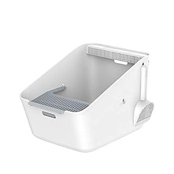 ZCY Chat Maison De Toilette, Top-Entry, Jante Haute Face, Désodorisation, Grande Capacité Bac À Litiére De Chat, Blanc