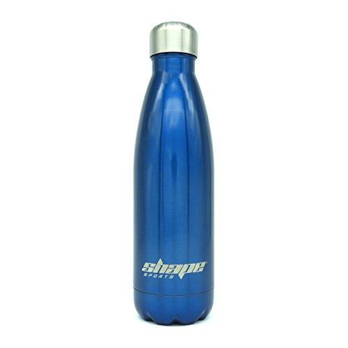 Shape Bottle - Trinkflasche aus Edelstahl 500 ml, Doppelwandig, Vakuum Isoliert und BPA - frei - für Sport und Freizeit + Bonus E-Book (blau)