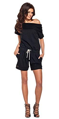 Lemoniade stylischer Jumpsuit ohne Ärmel mit elegantem Wasserfallkragen und ausgefallener Schnürung an der Hüfte (L (40), Modell 2 Schwarz)