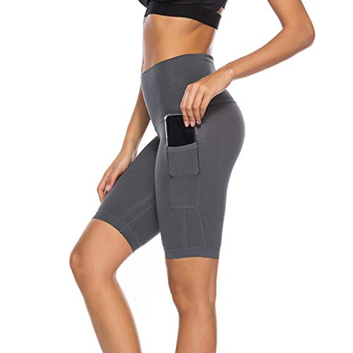 Amcool Neu Kurze Sporthose Damen Leggins Kurz Sporthose, Blickdicht & High Waist Leggings Laufhose für Sommer Shorts Training Gym Yoga Fitness Yoga mit Taschen