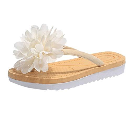 Damen Hausschuhe Sommer Flip Flops Slipper Blume Flach Mit Strand Hausschuhe Plüsch Süße Pantoffeln Weiche Flache Sandalen Indoor/Outdoor