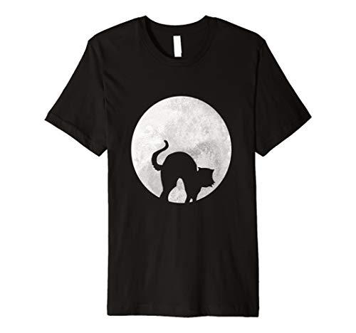 Schwarz Katze Halloween T-Shirt Full Moon Shadow Erwachsene Kostüm
