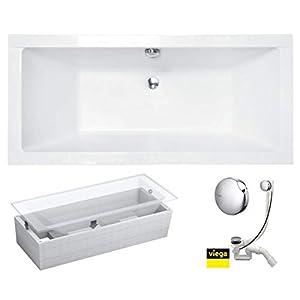 VBChome Badewanne 170x75 cm Acryl SET Wannenträger Siphon Wanne Rechteck Weiß Design Modern Styroporträger Ablaufgarnitur in Chrom Viega Simplex für 2 Personen (170x75cm)