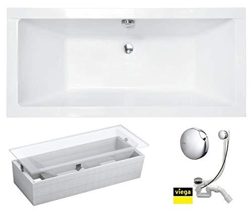 VBChome Badewanne 180x80 cm Acryl SET 3in1 Wannenträger Siphon Wanne Rechteck Weiß Design Modern Styroporträger Ablaufgarnitur in Chrom Viega Simplex für 2 Personen (180x80cm)