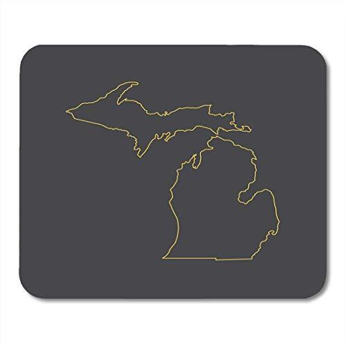 Mauspad, amerikanischer Abstrakter Michigan-Karte, Konturstrich, Stil Amerika, Cartographie, Mauspad für Notebooks, Desktop-Computer, Bürobedarf, 25 x 30 cm (Karten Von Michigan)