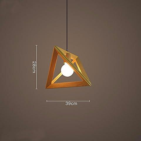 Wandun Antique American Bedroom Living Room Ideas Light Wood Frame Pendant Lamp,Medium