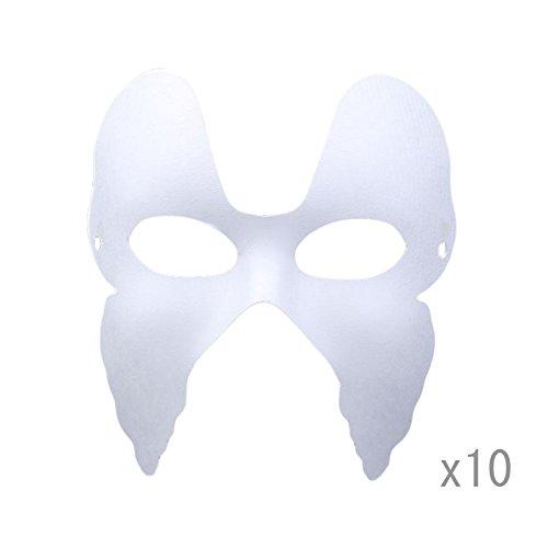 Meimask DIY 10 stücke Weißes Maske Zellstoff Blank Handgemalte Maske Persönlichkeit Kreative Freie Design Maske (Schmetterling) (Schmetterlings-masken Kinder Für)