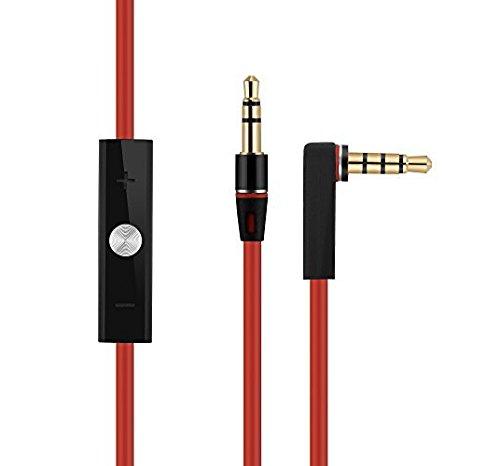 PhoneStar Audio Verlängerungskabel für Dr. Dre BEATS Kopfhörer mit Lautstärkeregler, Mikrofon und Anrufannahme in rot - 3,5 mm AUX Stereo und L-Stecker (Ipod Shuffle 6.)