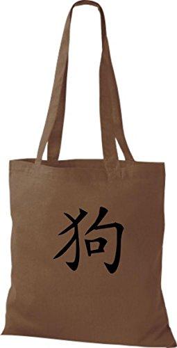 ShirtInStyle Stoffbeutel Chinesische Schriftzeichen Hund Baumwolltasche Beutel, diverse Farbe chestnut