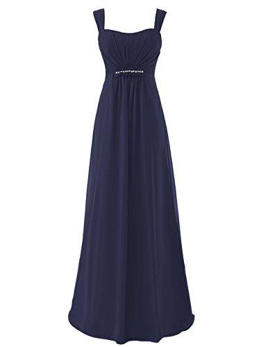 Dresstells Damen Bodenlang Chiffon Promi-Kleider Ärmellose Abendkleider Marineblau