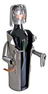Weiblich Zahnarzt Wein Flasche Halter, H & K Stahl Skulptur 6222-li