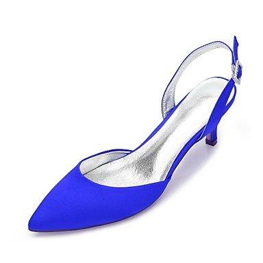 RTRY Chaussures Femmes Sandales En Satin Extensible / Sandales Peep Toe / Robe De Mariage /Violet/Rouge Noir/Bleu 4In-4 3/4En Violet p2nFPtYy9