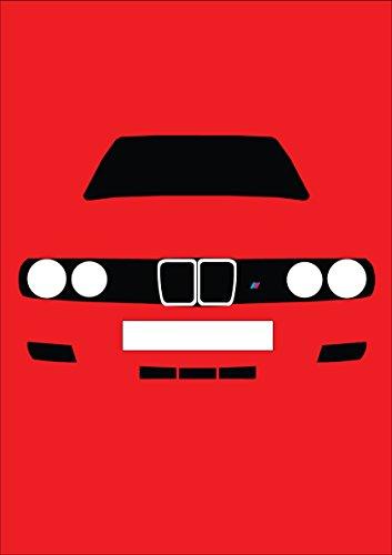 Grußkarte von Retro Motor Company, zeigt die Frontansicht eines BMW E30 M3 (E30-motor)