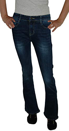 Bootcut-denim-jeans-hose (Voggo Damen Stretch Boot-Cut Jeans Hose, dunkelblau Used V5041, Gr.36)