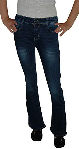 Voggo Damen Stretch Boot-Cut Jeans Hose, dunkelblau Used V5041, Gr.36 Denim Bootcut Hose