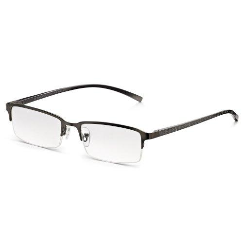 Read optics da uomo occhiali lettura vista presbiopia: in metallo, mezza montatura classica e cerniera a molla. grigio opaco. lenti chiare antiriflesso e antigraffio - diottrie +1,50/+2/+2,5/+3/+3,5