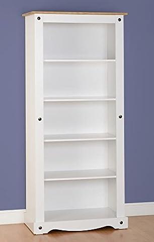 Corona Bibliothèque haute en blanc/Pin ciré vieilli