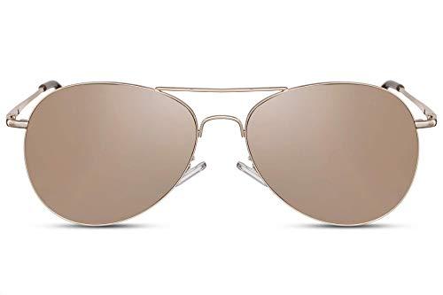 Cheapass Sonnenbrille Gold Pilotenbrille Verspiegelt UV-400 Flieger-Brille Metall Herren Damen
