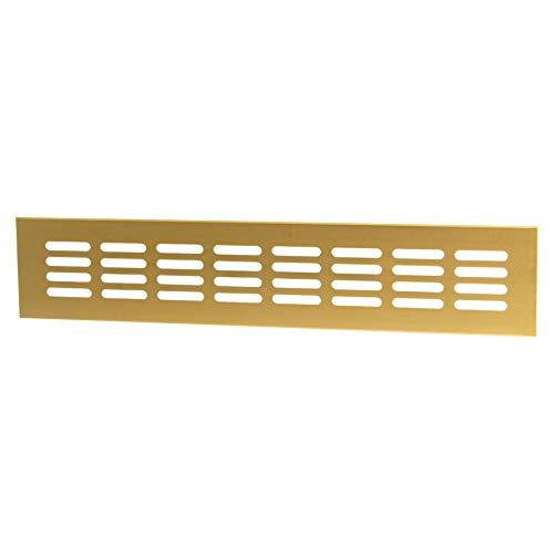 Lüftungsgitter Tür-Gitter Messing Abluftgitter Aluminium | Belüftungsgitter eckig | 500 x 60 mm | Möbel-Gitter Alu für Heizung - Wand uvm. | MADE IN GERMANY | 1 Stück - Lüftungsblech mit Schrauben