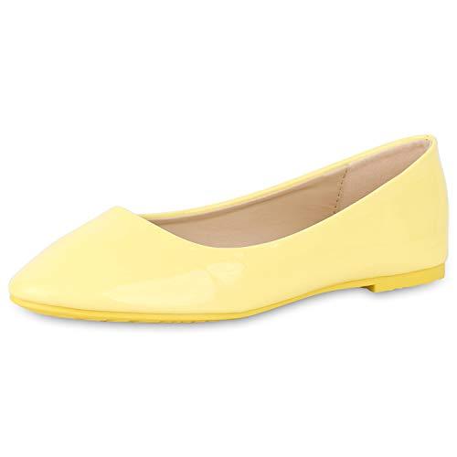 SCARPE VITA Damen Klassische Ballerinas Elegante Slip On Schuhe Lack Slipper Flache Abendschuhe Flats Glitzer 181586 Gelb Lack 39 -