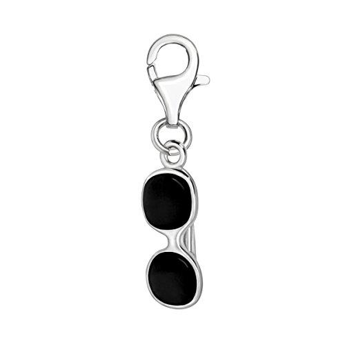 Quiges Charms Anhänger Schwarz Sonnenbrille Versilbert Damen Schmuck für Bettelarmband