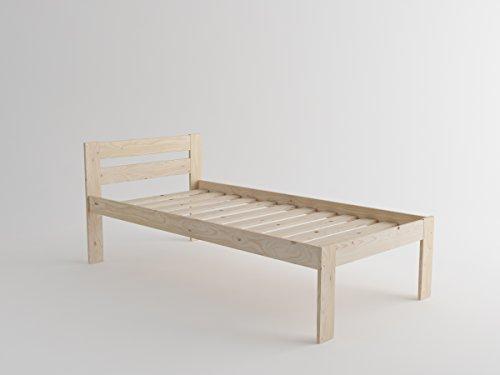 Cama individual alta de madera maciza