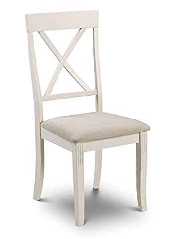 Davenport White Dining Chair Upholstered Seat pad Cross Back