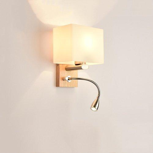 Moderner Glaslampenschirm mit Lichtschalter 2-Licht E27 / LED kleiner Scheinwerfer Schlafzimmer Nachttischlampe verziert Gang Wohnzimmer Küche Esszimmer Wandleuchte Wandlampen (Größe : Square shade) -
