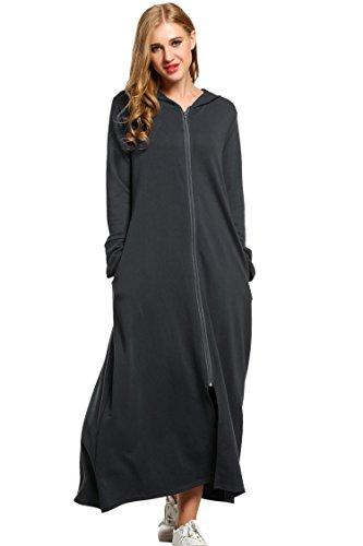 Unibelle Morgenmantel Damen Bademantel Langarm Saunamantel Baumwolle Roben Nachtwäsche Mit Kapuze Reißverschluss
