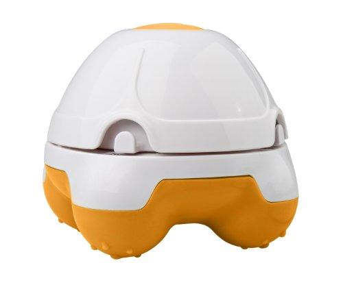 Medisana HM840 88521, Mini Masajeador de Mano, vibratorio con esponja natural lavable, Color Blanco y Naranja