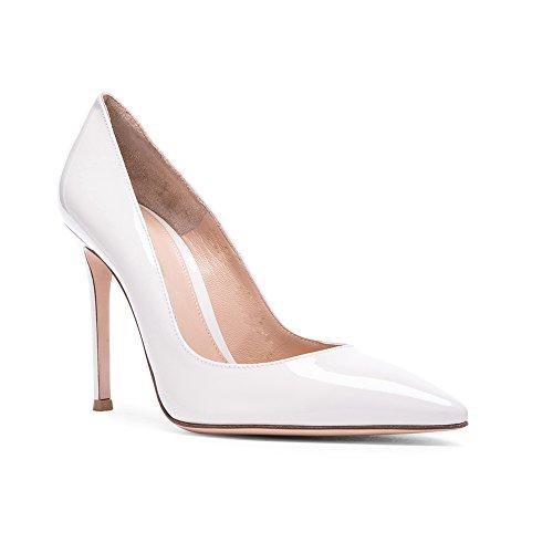 Pumps Spitze Mehrfarbig Schuhe Absatz Braut Glitzer Hochzeit Klassische Büro Mit Zehen Damen Edefs Stiletto Lackweiß pwOItq