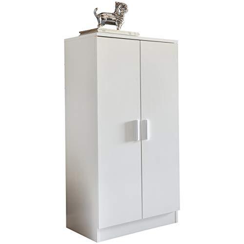 FineBuy Schuhschrank MARTY mit 2 Türen Weiß 55x108x35 cm Schuhregal Holz geschlossen | Design...