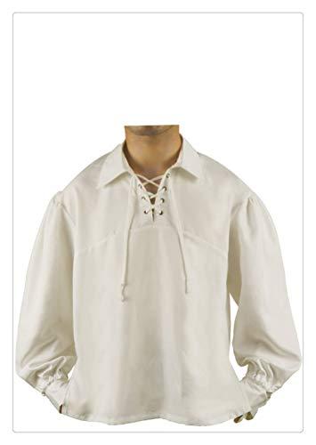 Z-one 1 Herren Mittelalter Pirate Lace Up Stehkragen breite Manschette Kost¨¹m Shirt Tops Lace Up Pirate