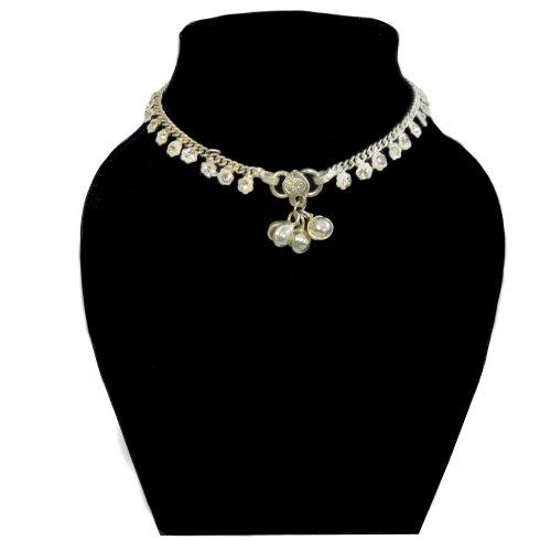 2 tobilleras pulseras para el pie 25 cm cadenitas plateadas campanas brillantes piedritas joyas para el pie mujeres