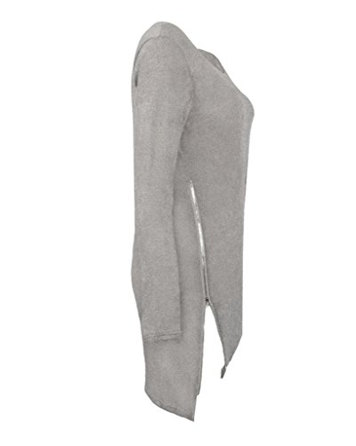 Minetom Donna Autunno Inverno Oversize Maglione Vestito Allentato Cerniera Laterale Cardigan Casuale Manica lunga Camicia Top Maglieria Grigio