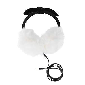 HEMOBLLO musikalische Ohrenschützer Kopfhörer flauschige Kunstpelz Ohrenwärmer mit bowknot Kopfhörer mit Mikrofon (weiß)