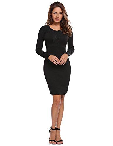 Meaneor Damen Spitzen Elegant Kleid Langarm Etuikleid Knielang Businesskleid Lace Cocktailkleid Bodycon Bleistiftkleid Schwarz