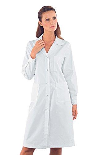 Isacco Camice Donna - Isacco Bianco, Bianco, S, 100% Cotone, Manica Lunga, Bottoni a pressione
