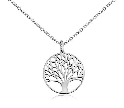 Nuoli Lebensbaum Kette Silber (50 cm) hübsche Halskette für Frauen mit Lebensbaum Anhänger