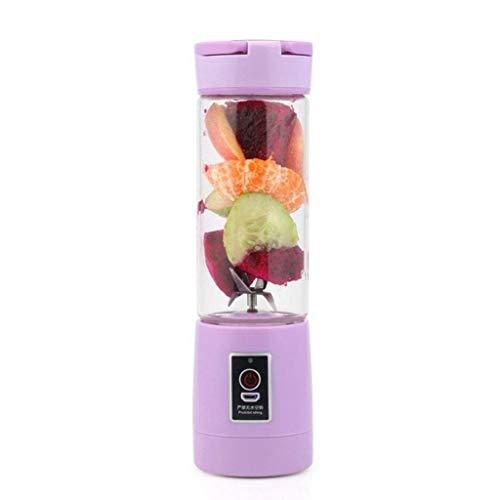 Lszdp-negozio Mini Licuadora de Frutas Taza Exprimidora Portátil Eléctrica Licuadora Exprimidor Recargable USB Acero Inoxidable de 6 Hojas Licuadora portátil (Color : Purple)