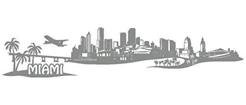 Samunshi® Wandtattoo Miami Skyline Wandaufkleber in 7 Größen und 19 Farben (100x21cm mittelgrau) (Der Fenster Unter Bank)