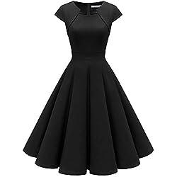 Homrain Robe Femme Vintage de Soirée Cocktail Cérémonie années 1950s Style Audrey Hepburn Black S